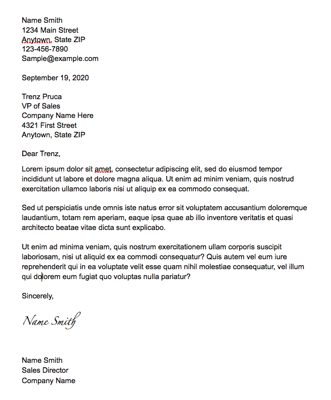 sample 1 block business letter format standard format