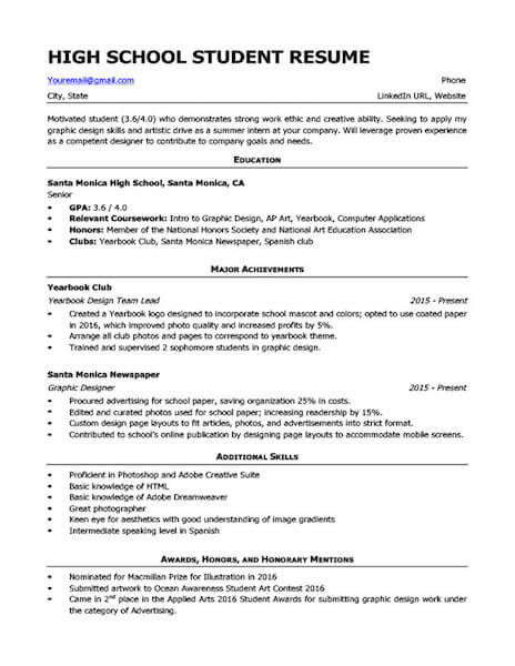 4 high school resume templates and examples