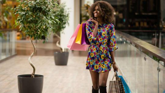 Woman shopping at mall