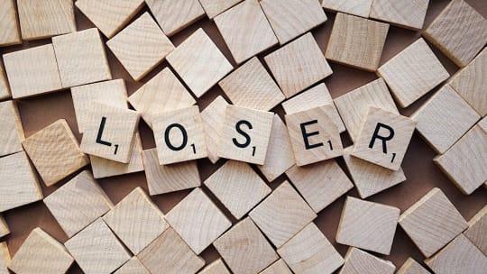 """scrabble pieces spelling """"loser"""""""