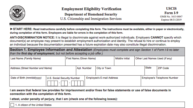 form i-9 requirements  I-15 Form: Employment Eligibility Form Requirements ...