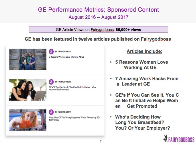 Fairygodboss' sponsored articles for GE
