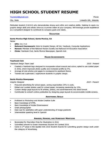 4 High School Resume Templates And Examples Fairygodboss
