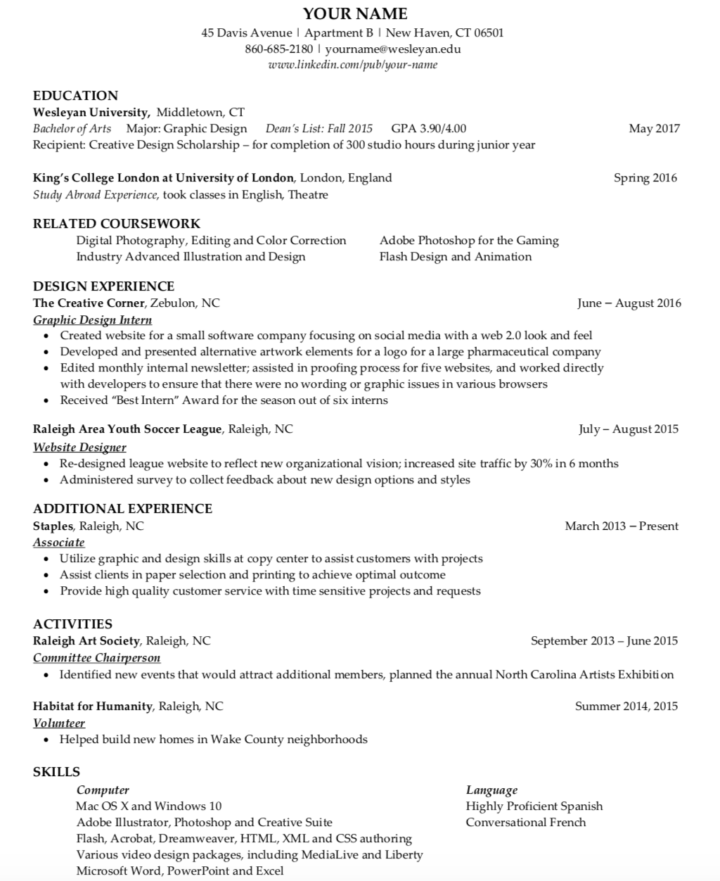 what does a college resume look like